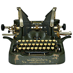 "Oliver Typewriter, known as the ""Iron Butterfly"" for the overhead strike motion of the type arms"