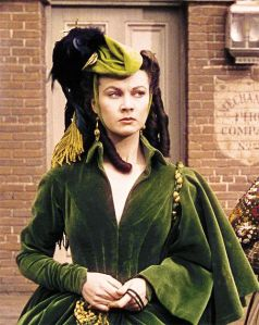 Vivian Leigh as Scarlett O'Hara in the green velvet dress she made of curtains
