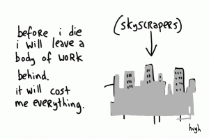 "Business card drawing of skyscrapers by Hugh MacLeod, saying ""Before I die I will leave a body of work behind. It will cost me everything."""