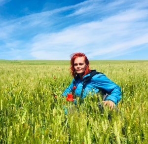 Blue sky, green wheat field, and a redheaded woman in a blue jacket and a wheelchair, sitting chest-deep in the wheat.
