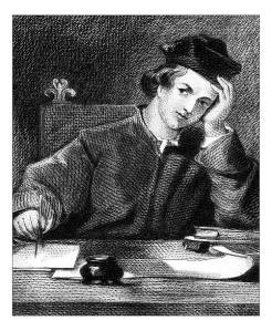 Antique engraving of a white male writer thinking, an inkwell in front of him and pen in hand