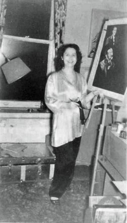 Diana Dale at the easel c 1950