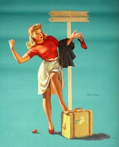 vintage color poster of blonde woman in skirt and red sweater, hitchiking while holding broken red shoe