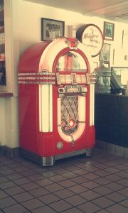 Faded vintage photo of jukebox