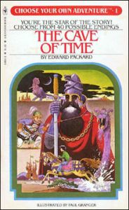 A cover of a Choose Your Own Adventure Book, the Cave of Time